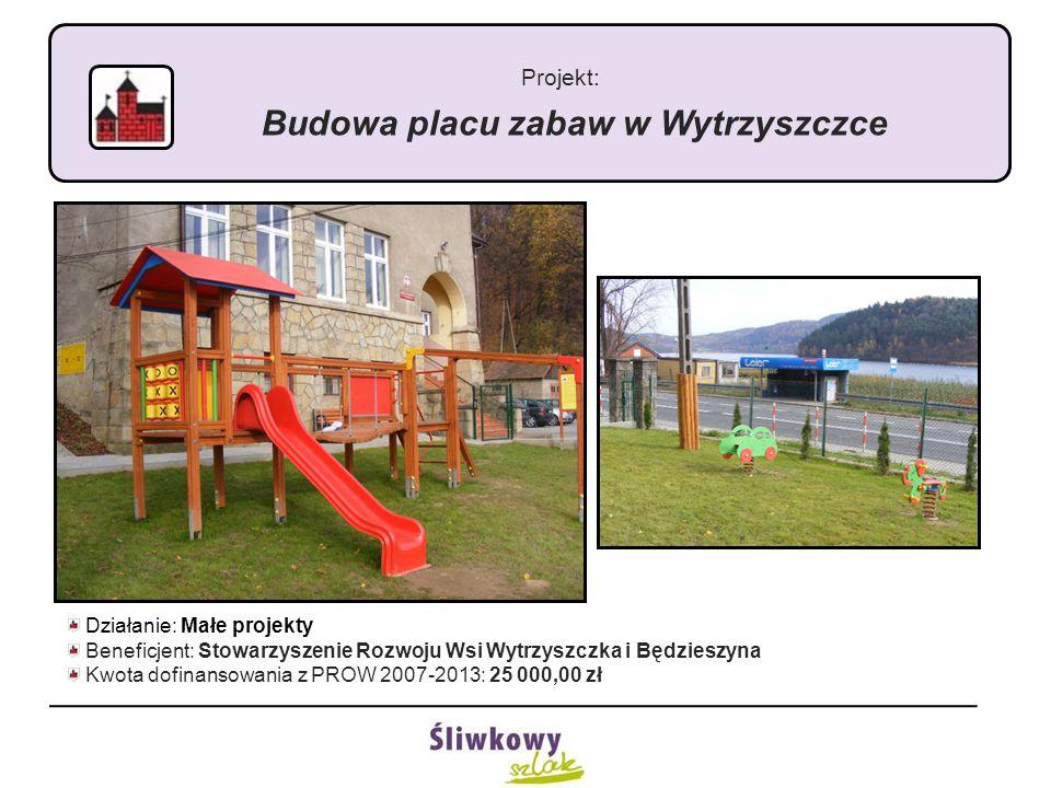 Projekt: Budowa placu zabaw w Wytrzyszczce Działanie: Małe projekty Beneficjent: Stowarzyszenie Rozwoju Wsi Wytrzyszczka i Będzieszyna Kwota dofinansowania z PROW 2007-2013: 25 000,00 zł