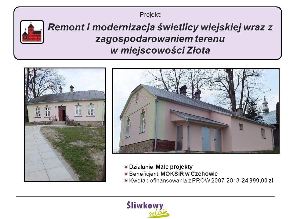 Projekt: Remont i modernizacja świetlicy wiejskiej wraz z zagospodarowaniem terenu w miejscowości Złota Działanie: Małe projekty Beneficjent: MOKSiR w Czchowie Kwota dofinansowania z PROW 2007-2013: 24 999,00 zł