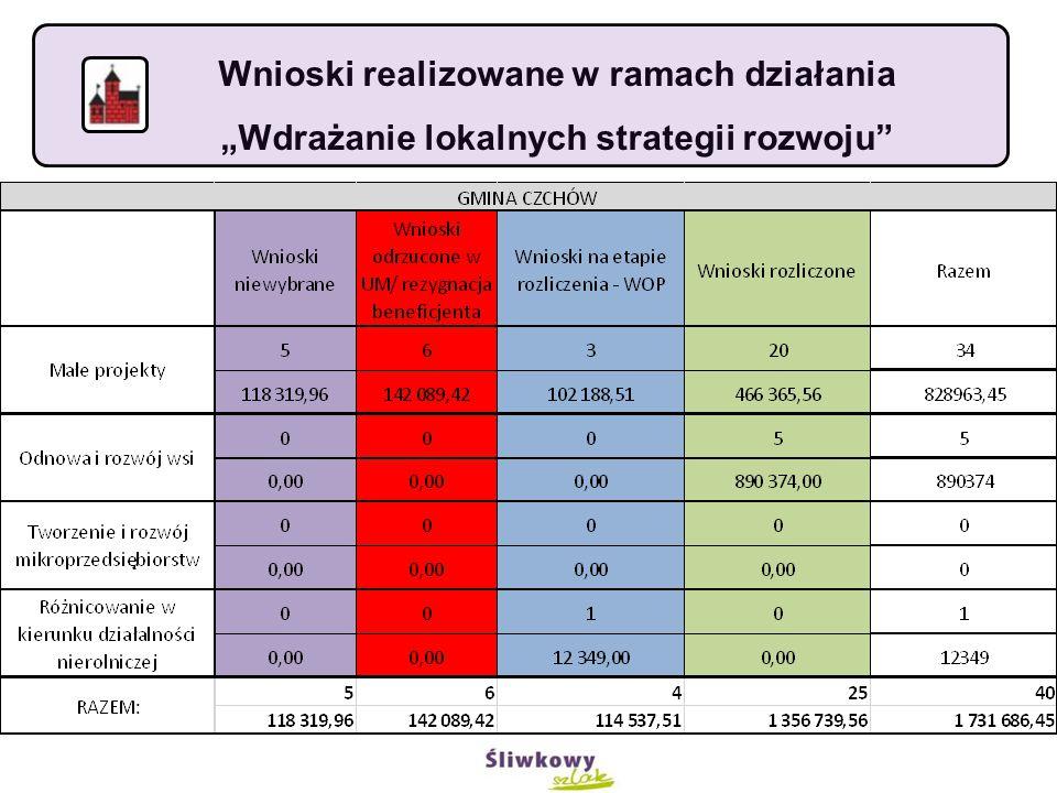 """Wnioski realizowane w ramach działania """"Wdrażanie lokalnych strategii rozwoju"""
