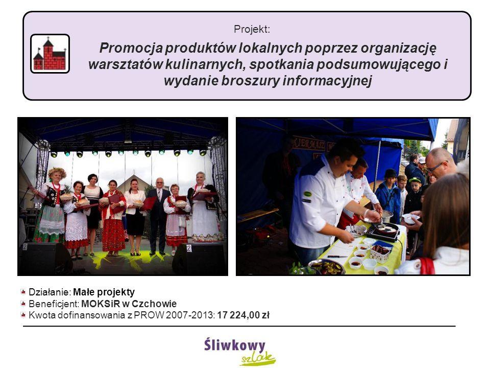 Projekt: Promocja produktów lokalnych poprzez organizację warsztatów kulinarnych, spotkania podsumowującego i wydanie broszury informacyjnej Działanie: Małe projekty Beneficjent: MOKSiR w Czchowie Kwota dofinansowania z PROW 2007-2013: 17 224,00 zł