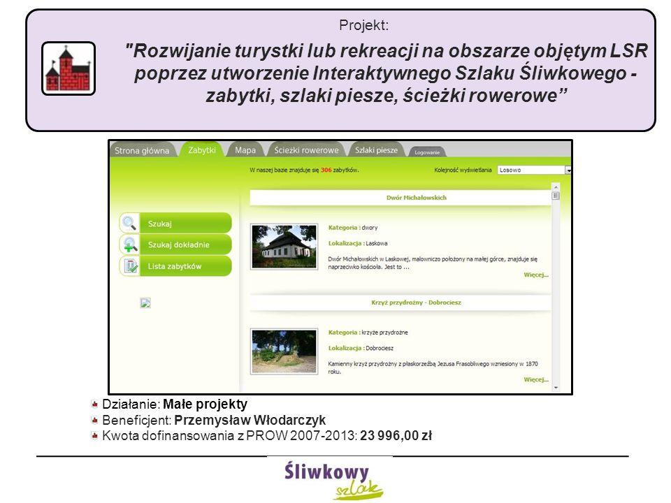 Projekt: Rozwijanie turystki lub rekreacji na obszarze objętym LSR poprzez utworzenie Interaktywnego Szlaku Śliwkowego - zabytki, szlaki piesze, ścieżki rowerowe Działanie: Małe projekty Beneficjent: Przemysław Włodarczyk Kwota dofinansowania z PROW 2007-2013: 23 996,00 zł