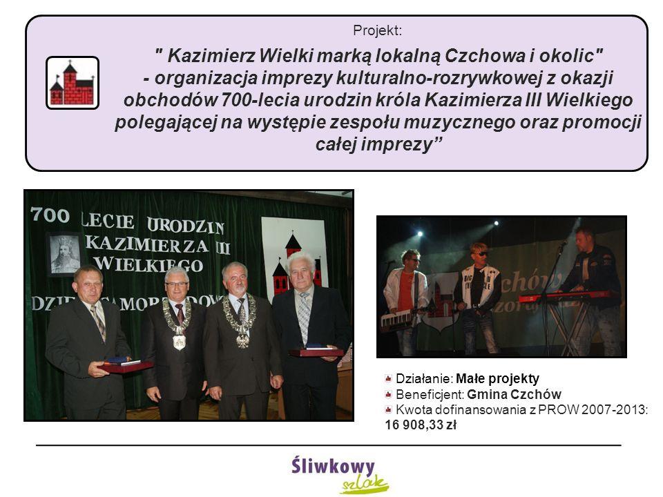 Projekt: Kazimierz Wielki marką lokalną Czchowa i okolic - organizacja imprezy kulturalno-rozrywkowej z okazji obchodów 700-lecia urodzin króla Kazimierza III Wielkiego polegającej na występie zespołu muzycznego oraz promocji całej imprezy Działanie: Małe projekty Beneficjent: Gmina Czchów Kwota dofinansowania z PROW 2007-2013: 16 908,33 zł