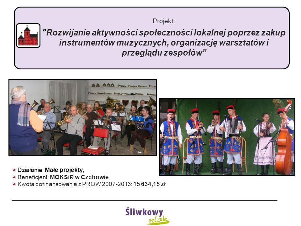 Projekt: Rozwijanie aktywności społeczności lokalnej poprzez zakup instrumentów muzycznych, organizację warsztatów i przeglądu zespołów Działanie: Małe projekty, Beneficjent: MOKSiR w Czchowie Kwota dofinansowania z PROW 2007-2013: 15 634,15 zł