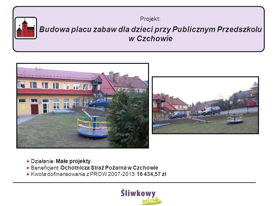"""Projekt: """"Budowa placu zabaw dla dzieci przy przedszkolu w Tymowej Działanie: Małe projekty Beneficjent: Gmina Czchów Kwota dofinansowania z PROW 2007-2013: 21 122,13 zł"""