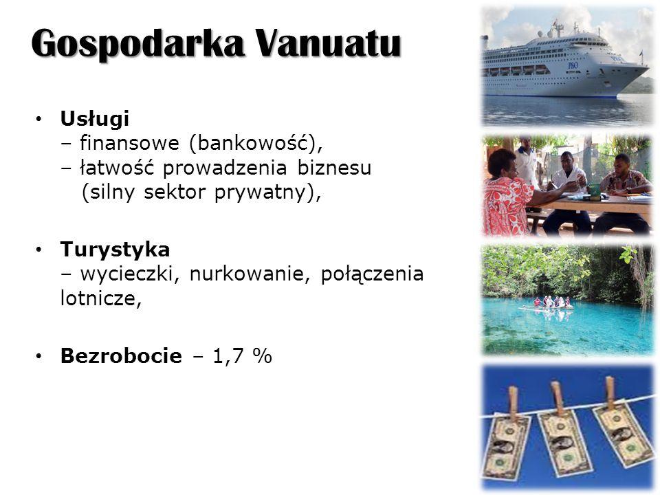 Gospodarka Vanuatu Usługi – finansowe (bankowość), – łatwość prowadzenia biznesu (silny sektor prywatny), Turystyka – wycieczki, nurkowanie, połączenia lotnicze, Bezrobocie – 1,7 %