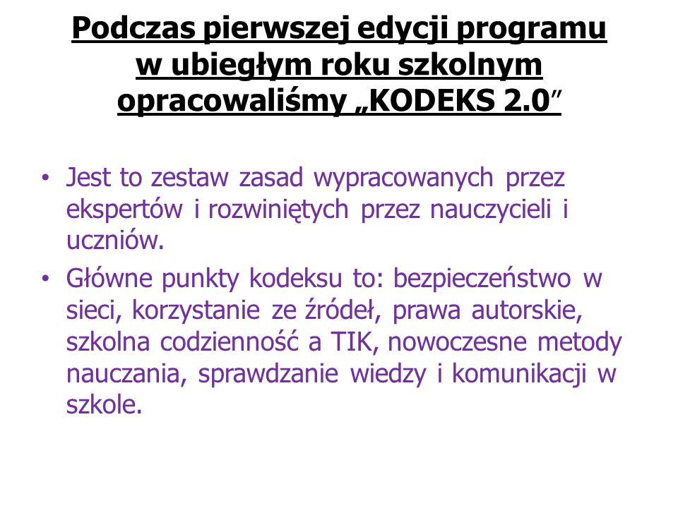 """Podczas pierwszej edycji programu w ubiegłym roku szkolnym opracowaliśmy """"KODEKS 2.0 Jest to zestaw zasad wypracowanych przez ekspertów i rozwiniętych przez nauczycieli i uczniów."""