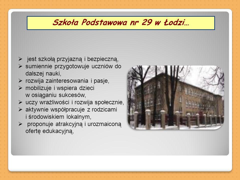 Szkoła Podstawowa nr 29 w Łodzi…  jest szkołą przyjazną i bezpieczną,  sumiennie przygotowuje uczniów do dalszej nauki,  rozwija zainteresowania i