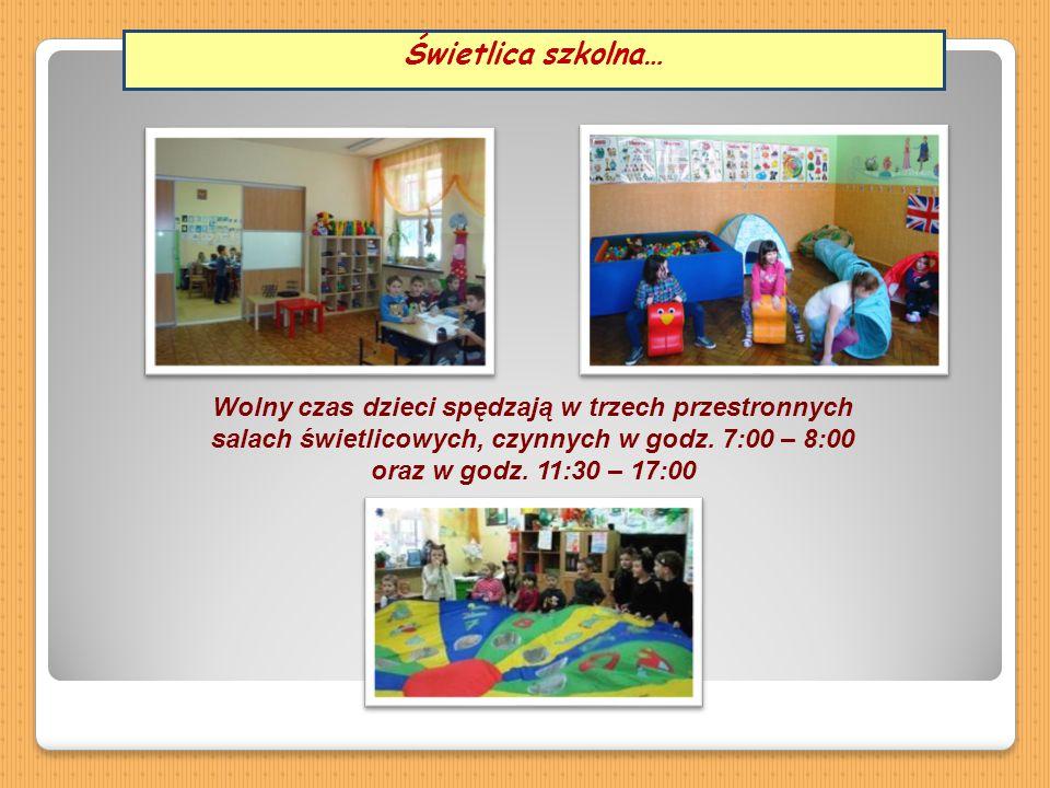 Wolny czas dzieci spędzają w trzech przestronnych salach świetlicowych, czynnych w godz. 7:00 – 8:00 oraz w godz. 11:30 – 17:00 Świetlica szkolna…