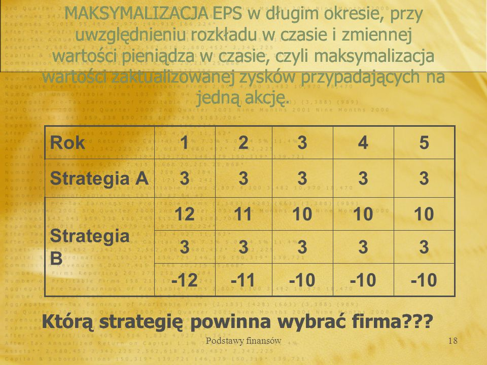 Podstawy finansów18 Którą strategię powinna wybrać firma??? MAKSYMALIZACJA EPS w długim okresie, przy uwzględnieniu rozkładu w czasie i zmiennej warto
