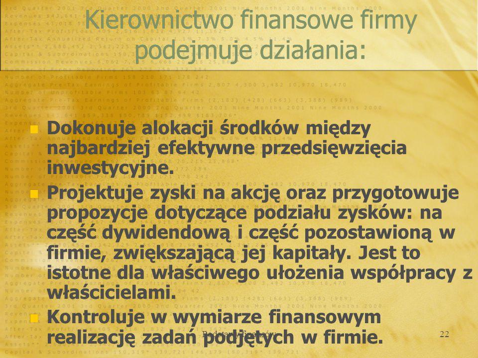 Podstawy finansów22 Dokonuje alokacji środków między najbardziej efektywne przedsięwzięcia inwestycyjne. Projektuje zyski na akcję oraz przygotowuje p