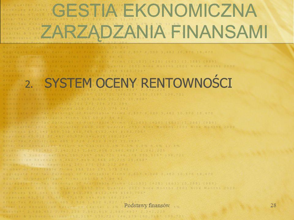Podstawy finansów28 2. SYSTEM OCENY RENTOWNOŚCI GESTIA EKONOMICZNA ZARZĄDZANIA FINANSAMI