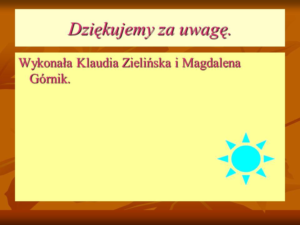 Dziękujemy za uwagę. Wykonała Klaudia Zielińska i Magdalena Górnik.