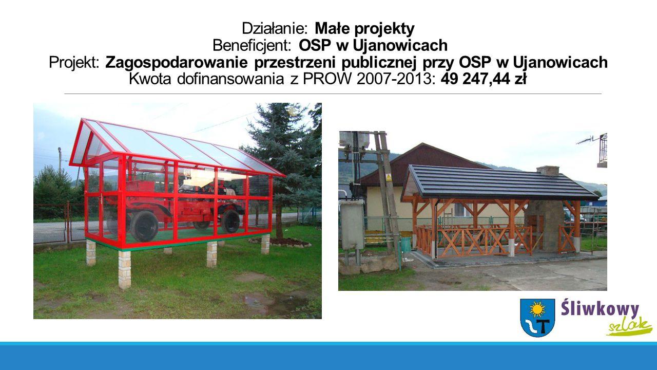 Działanie: Małe projekty Beneficjent: OSP w Ujanowicach Projekt: Zagospodarowanie przestrzeni publicznej przy OSP w Ujanowicach Kwota dofinansowania z