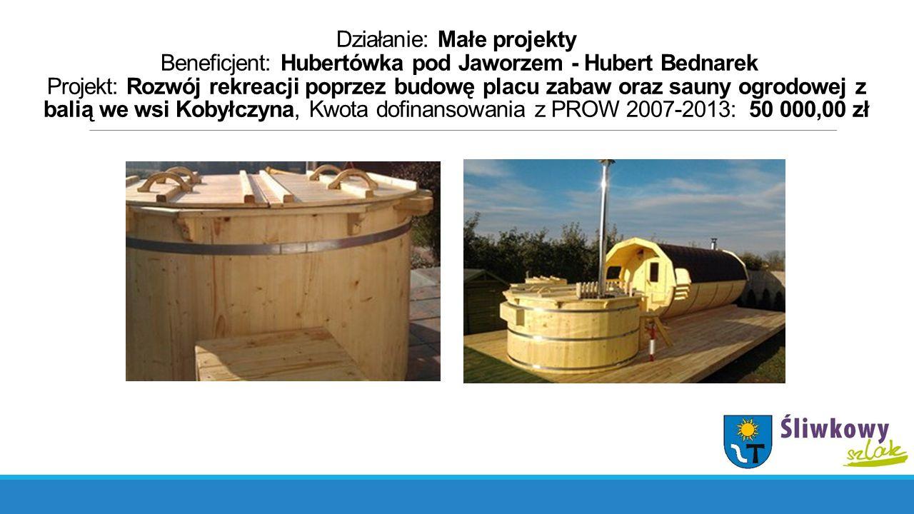 Działanie: Małe projekty Beneficjent: Hubertówka pod Jaworzem - Hubert Bednarek Projekt: Rozwój rekreacji poprzez budowę placu zabaw oraz sauny ogrodo