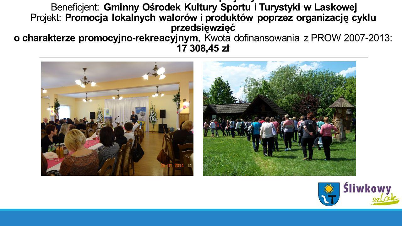 Działanie: Małe projekty Beneficjent: Gminny Ośrodek Kultury Sportu i Turystyki w Laskowej Projekt: Promocja lokalnych walorów i produktów poprzez org