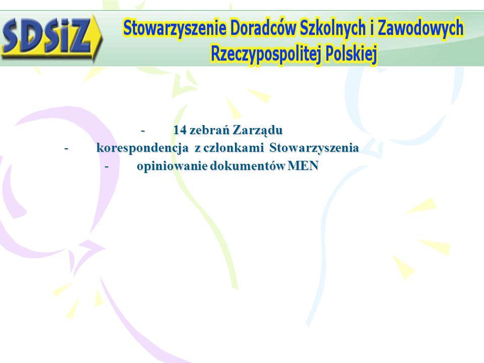 -14 zebrań Zarządu -korespondencja z członkami Stowarzyszenia -opiniowanie dokumentów MEN