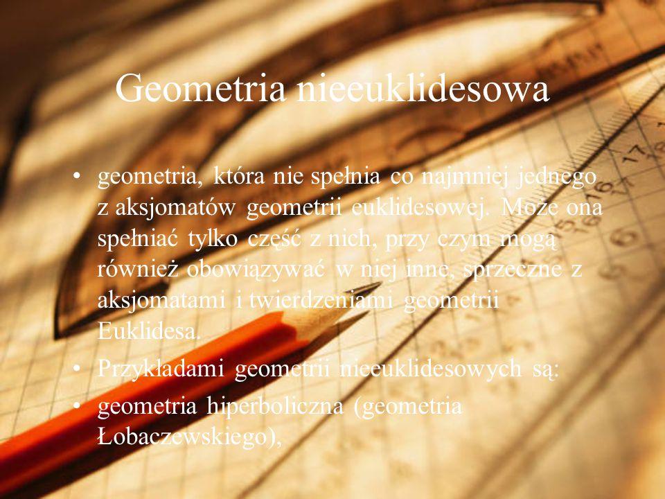 Geometria nieeuklidesowa geometria, która nie spełnia co najmniej jednego z aksjomatów geometrii euklidesowej. Może ona spełniać tylko część z nich, p