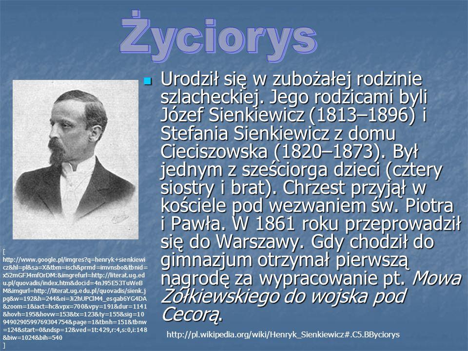 Urodził się w zubożałej rodzinie szlacheckiej. Jego rodzicami byli Józef Sienkiewicz (1813–1896) i Stefania Sienkiewicz z domu Cieciszowska (1820–1873