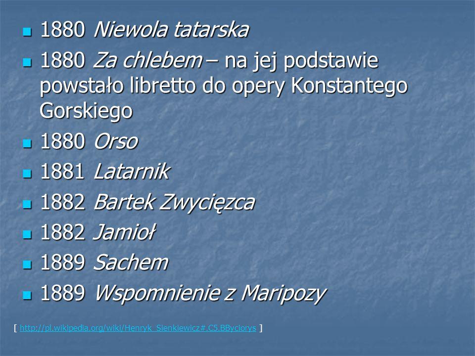 1880 Niewola tatarska 1880 Niewola tatarska 1880 Za chlebem – na jej podstawie powstało libretto do opery Konstantego Gorskiego 1880 Za chlebem – na j