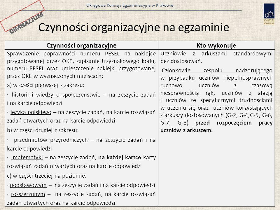 Okręgowa Komisja Egzaminacyjna w Krakowie 13 Czynności organizacyjneKto wykonuje Sprawdzenie poprawności numeru PESEL na naklejce przygotowanej przez