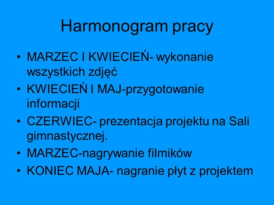 Harmonogram pracy MARZEC I KWIECIEŃ- wykonanie wszystkich zdjęć KWIECIEŃ I MAJ-przygotowanie informacji CZERWIEC- prezentacja projektu na Sali gimnastycznej.