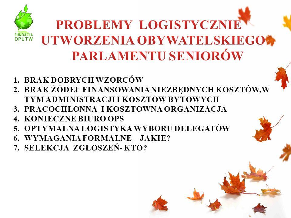 POPULACJA POLSKICH SENIORÓW TO OK.5 MLN OSÓB 500 UTW OK.150 TYS.
