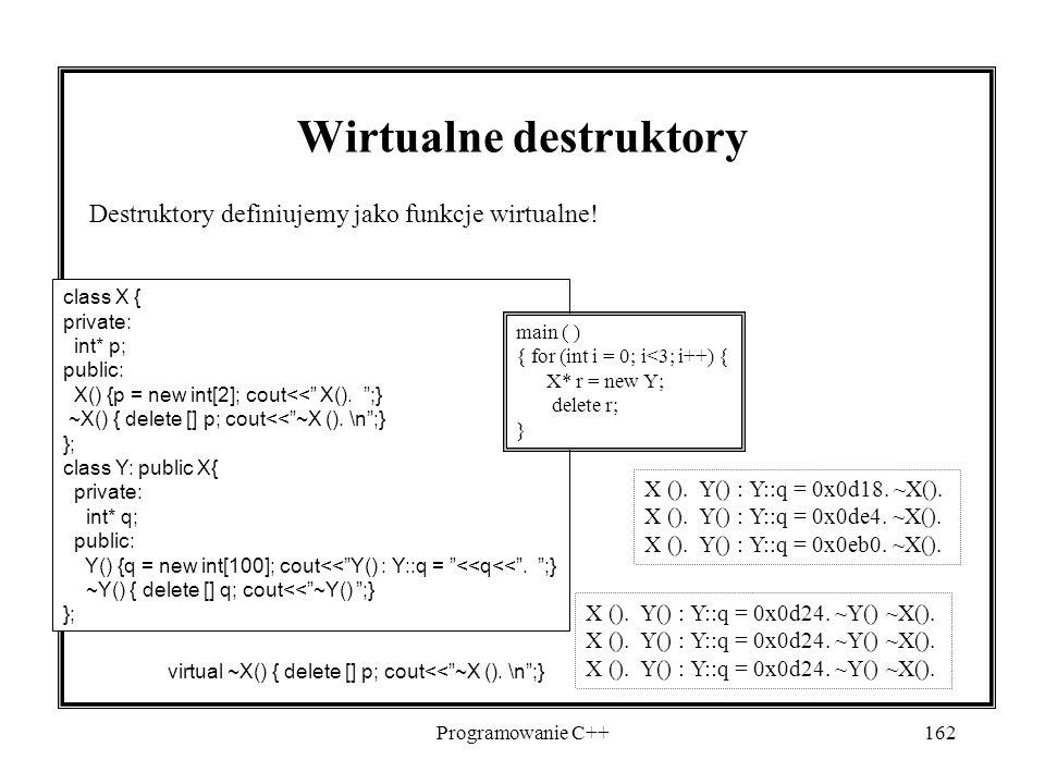 Programowanie C++162 Wirtualne destruktory Destruktory definiujemy jako funkcje wirtualne! class X { private: int* p; public: X() {p = new int[2]; cou
