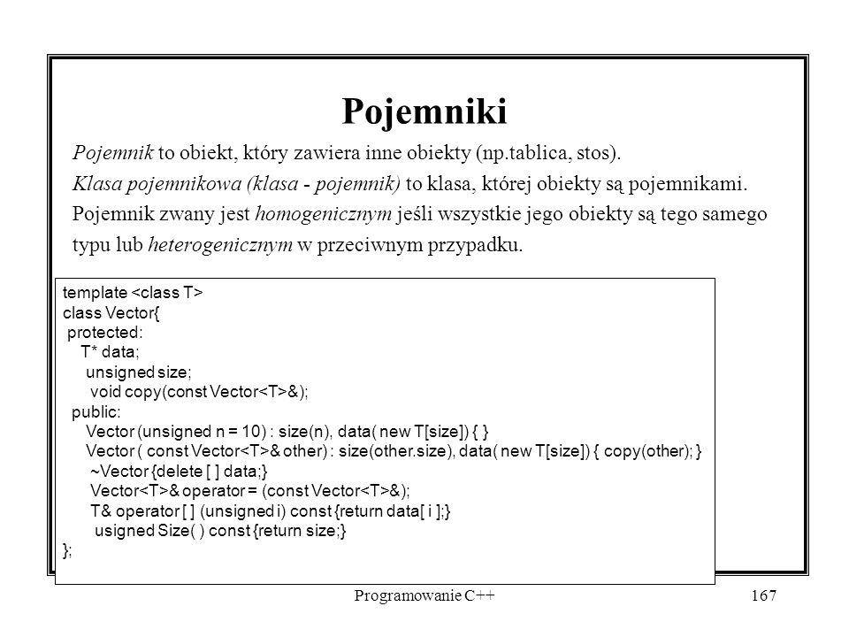 Programowanie C++167 Pojemniki Pojemnik to obiekt, który zawiera inne obiekty (np.tablica, stos). Klasa pojemnikowa (klasa - pojemnik) to klasa, które
