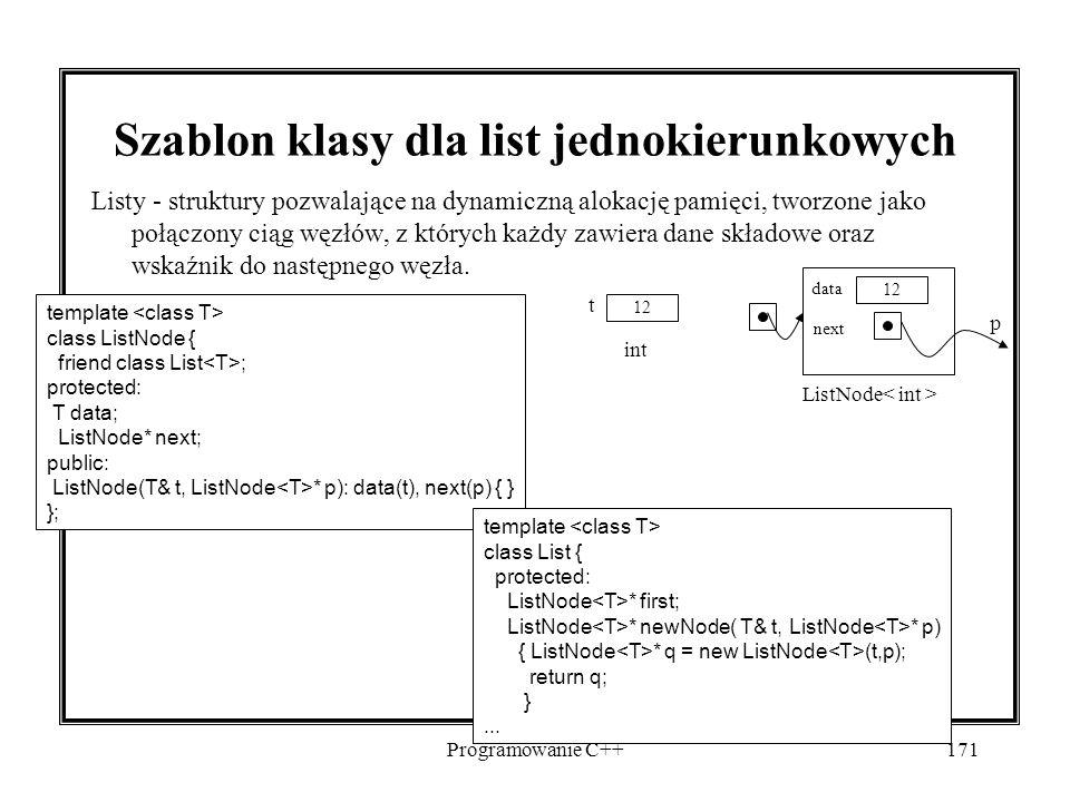 Programowanie C++171 Szablon klasy dla list jednokierunkowych Listy - struktury pozwalające na dynamiczną alokację pamięci, tworzone jako połączony ciąg węzłów, z których każdy zawiera dane składowe oraz wskaźnik do następnego węzła.