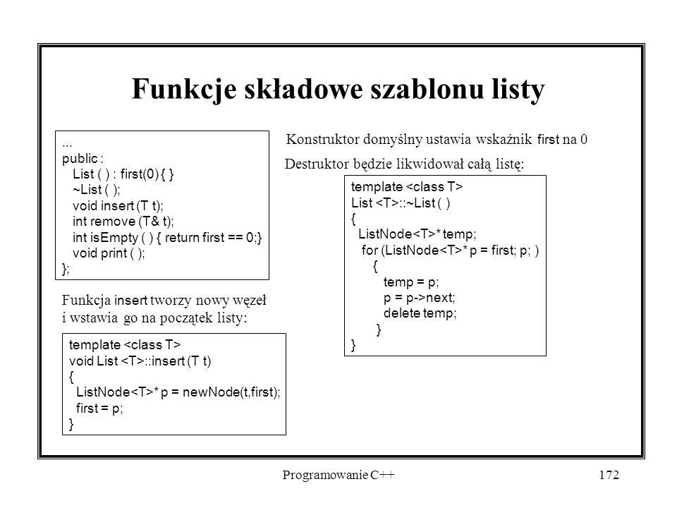 Programowanie C++172 Funkcje składowe szablonu listy Konstruktor domyślny ustawia wskaźnik first na 0 Destruktor będzie likwidował całą listę:...
