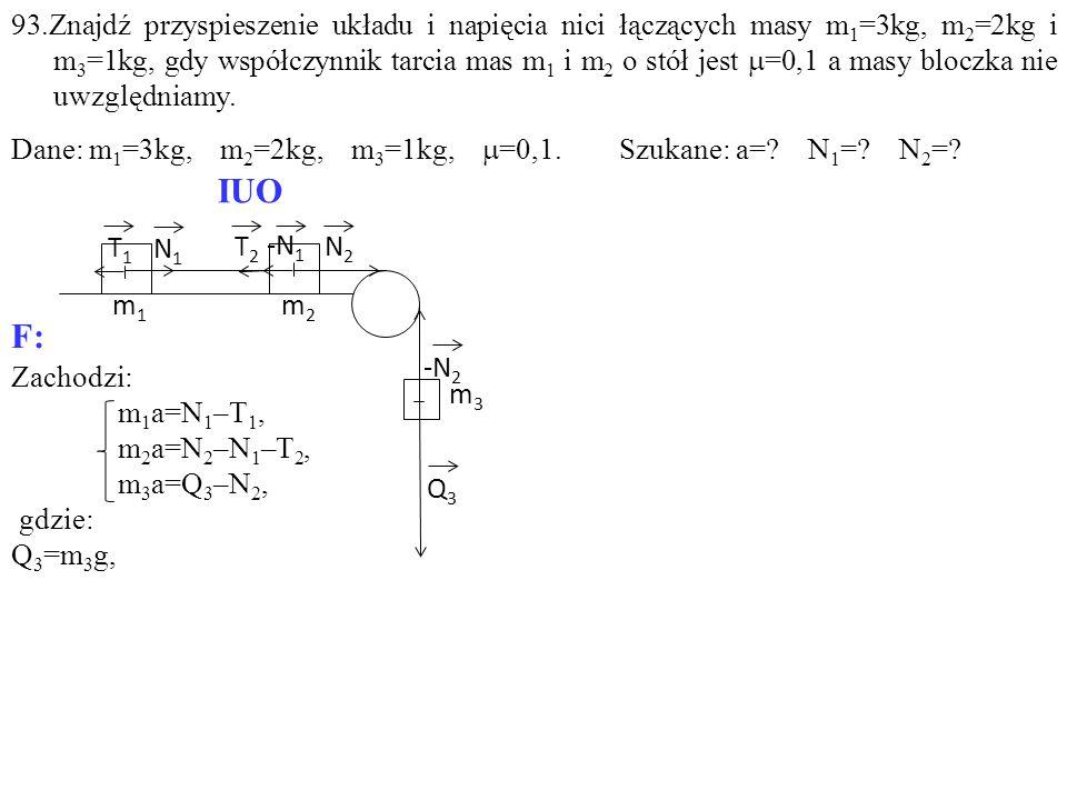 Zachodzi: m 1 a=N 1 –T 1, m 2 a=N 2 –N 1 –T 2, m 3 a=Q 3 –N 2, gdzie: Q 3 =m 3 g, T1T1 -N 1 T2T2 N1N1 N2N2 Q3Q3 m1m1 m2m2 m3m3 -N 2 IUO F: 93.Znajdź p