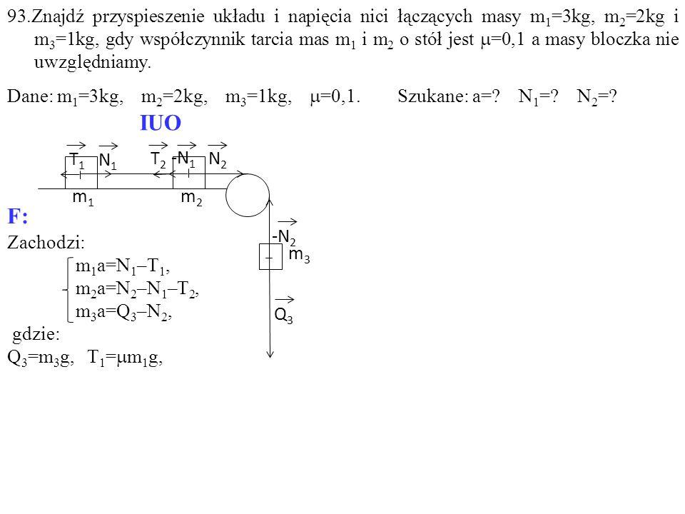 Zachodzi: m 1 a=N 1 –T 1, m 2 a=N 2 –N 1 –T 2, m 3 a=Q 3 –N 2, gdzie: Q 3 =m 3 g, T 1 =  m 1 g, T1T1 -N 1 T2T2 N1N1 N2N2 Q3Q3 m1m1 m2m2 m3m3 -N 2 IUO