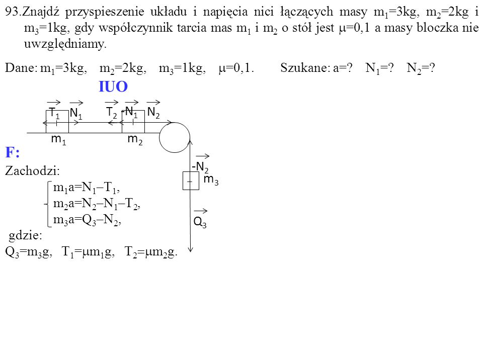 Zachodzi: m 1 a=N 1 –T 1, m 2 a=N 2 –N 1 –T 2, m 3 a=Q 3 –N 2, gdzie: Q 3 =m 3 g, T 1 =  m 1 g, T 2  m 2 g. T1T1 -N 1 T2T2 N1N1 N2N2 Q3Q3 m1m1 m2m2