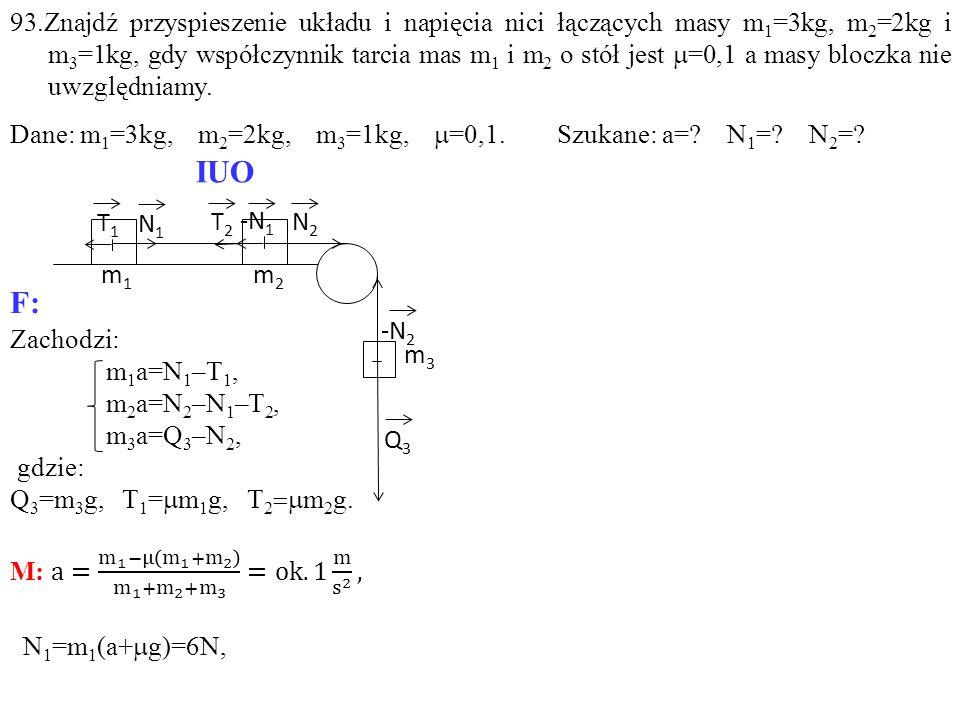 T1T1 -N 1 T2T2 N1N1 N2N2 Q3Q3 m1m1 m2m2 m3m3 -N 2 IUO F: 93.Znajdź przyspieszenie układu i napięcia nici łączących masy m 1 =3kg, m 2 =2kg i m 3 =1kg,