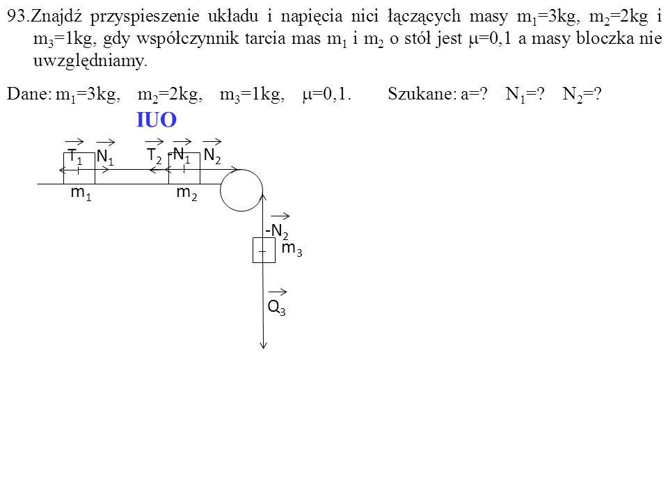 T1T1 -N 1 T2T2 N1N1 N2N2 Q3Q3 m1m1 m2m2 m3m3 -N 2 IUO 93.Znajdź przyspieszenie układu i napięcia nici łączących masy m 1 =3kg, m 2 =2kg i m 3 =1kg, gd