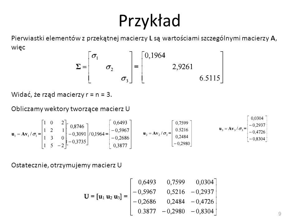 Zmodyfikowana metoda Grama- Schmidta wyznaczania rozkładu QR 20 Wyznaczamy ciąg macierzy Założenia 1)k-1 pierwszych kolumn w A(k) to także k-1 pierwszych kolumn w Q 2)kolumny są ortogonalne do kolumn