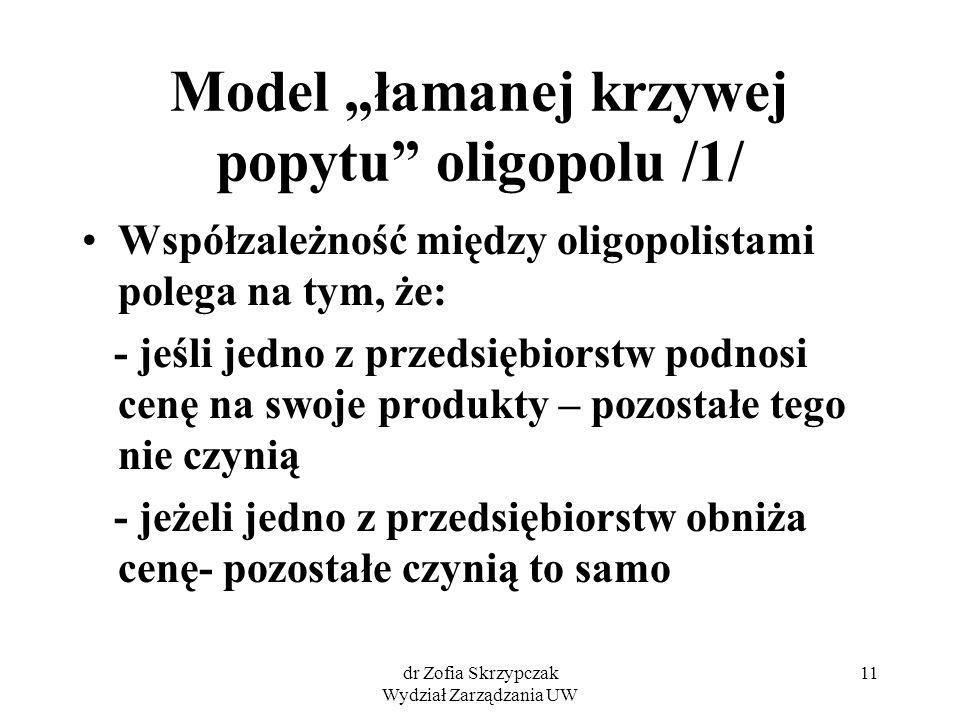 """dr Zofia Skrzypczak Wydział Zarządzania UW 11 Model """"łamanej krzywej popytu oligopolu /1/ Współzależność między oligopolistami polega na tym, że: - jeśli jedno z przedsiębiorstw podnosi cenę na swoje produkty – pozostałe tego nie czynią - jeżeli jedno z przedsiębiorstw obniża cenę- pozostałe czynią to samo"""