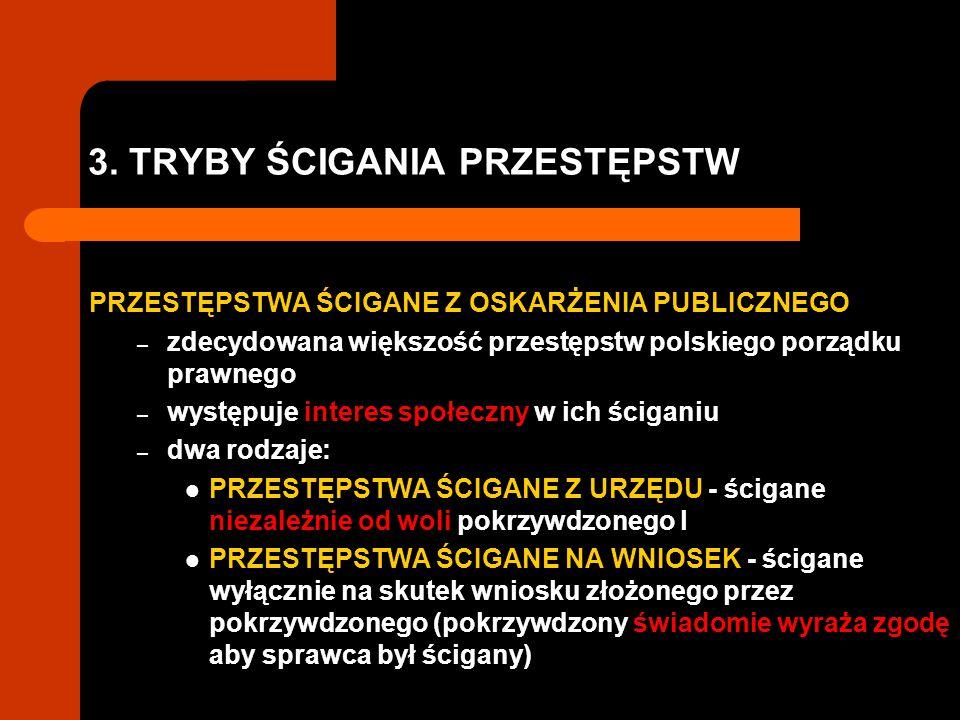 3. TRYBY ŚCIGANIA PRZESTĘPSTW PRZESTĘPSTWA ŚCIGANE Z OSKARŻENIA PUBLICZNEGO – zdecydowana większość przestępstw polskiego porządku prawnego – występuj