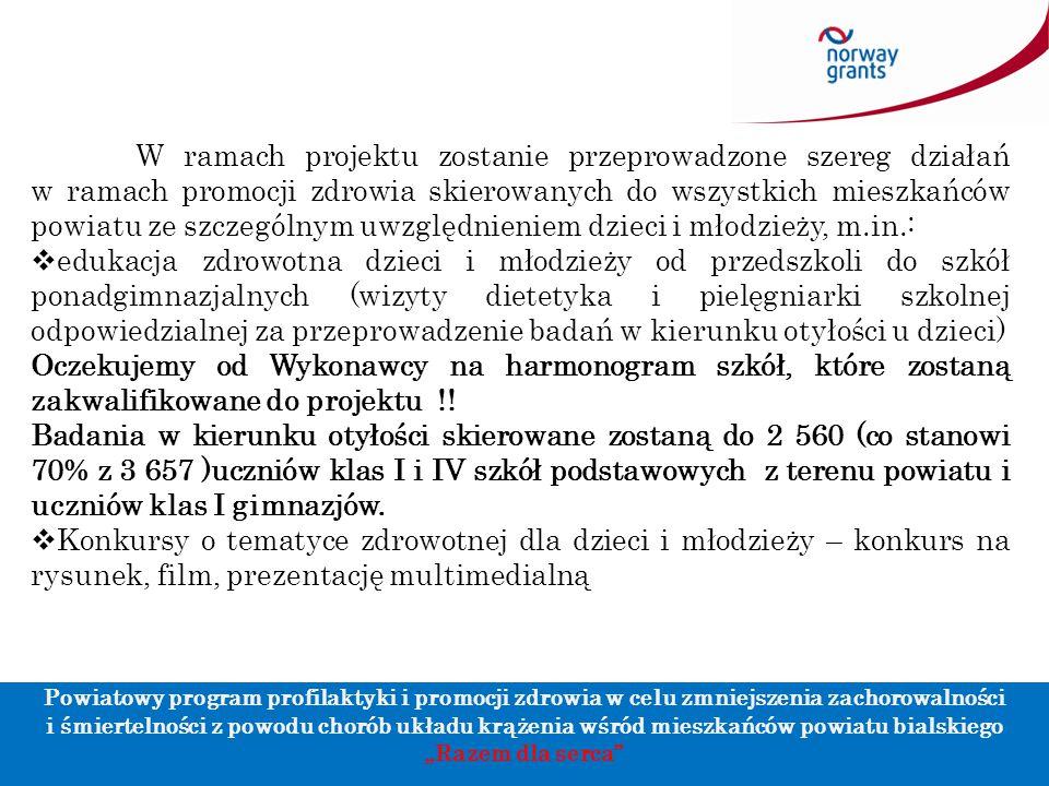 W ramach projektu zostanie przeprowadzone szereg działań w ramach promocji zdrowia skierowanych do wszystkich mieszkańców powiatu ze szczególnym uwzgl
