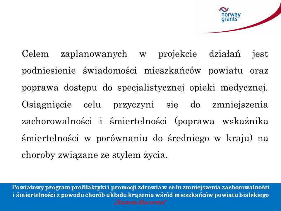 """Powiatowy program profilaktyki i promocji zdrowia w celu zmniejszenia zachorowalności i śmiertelności z powodu chorób układu krążenia wśród mieszkańców powiatu bialskiego """"Razem dla serca 2."""