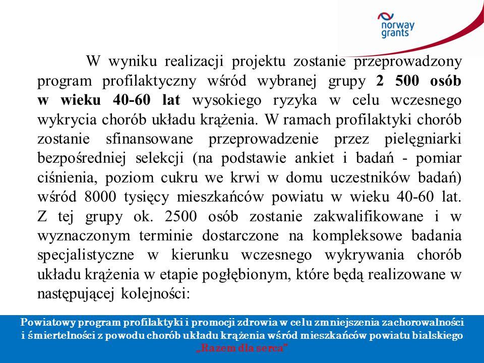 """Powiatowy program profilaktyki i promocji zdrowia w celu zmniejszenia zachorowalności i śmiertelności z powodu chorób układu krążenia wśród mieszkańców powiatu bialskiego """"Razem dla serca Dziękuję za uwagę."""