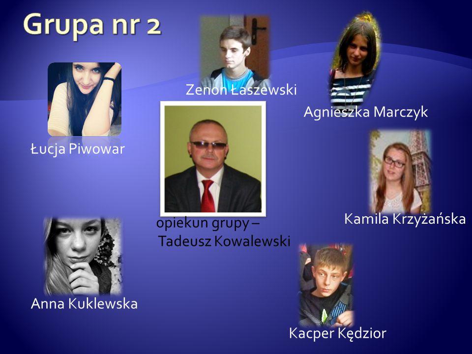 opiekun grupy – Tadeusz Kowalewski Łucja Piwowar Anna Kuklewska Kacper Kędzior Kamila Krzyżańska Agnieszka Marczyk Zenon Łaszewski