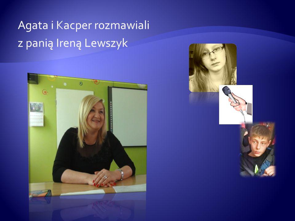 Agata i Kacper rozmawiali z panią Ireną Lewszyk