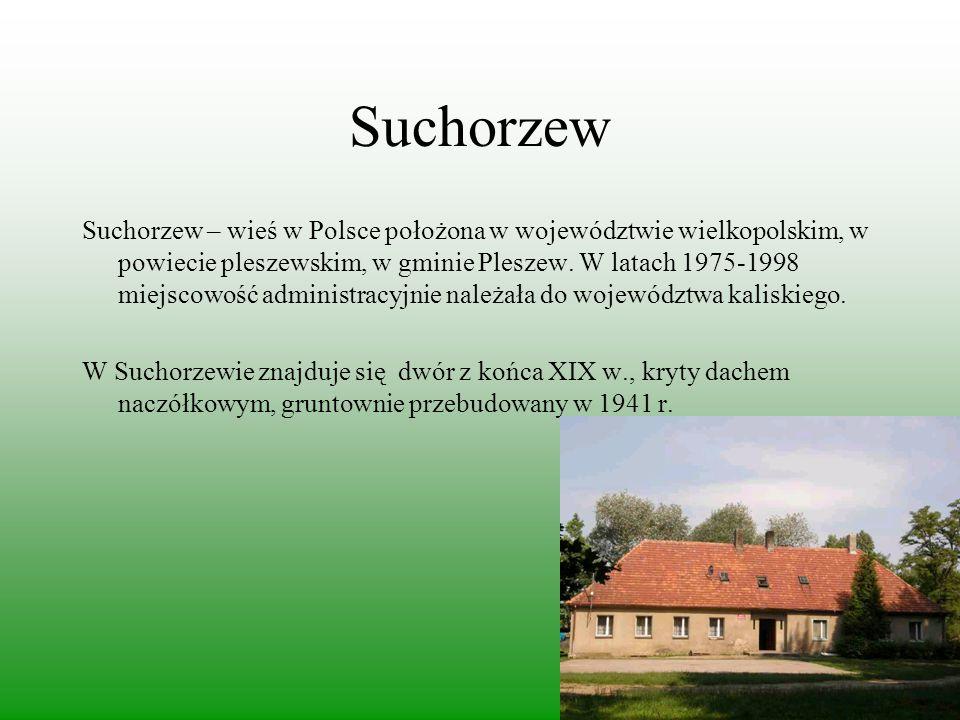 Suchorzew Suchorzew – wieś w Polsce położona w województwie wielkopolskim, w powiecie pleszewskim, w gminie Pleszew. W latach 1975-1998 miejscowość ad
