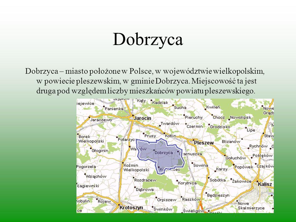 Dobrzyca Dobrzyca – miasto położone w Polsce, w województwie wielkopolskim, w powiecie pleszewskim, w gminie Dobrzyca. Miejscowość ta jest druga pod w