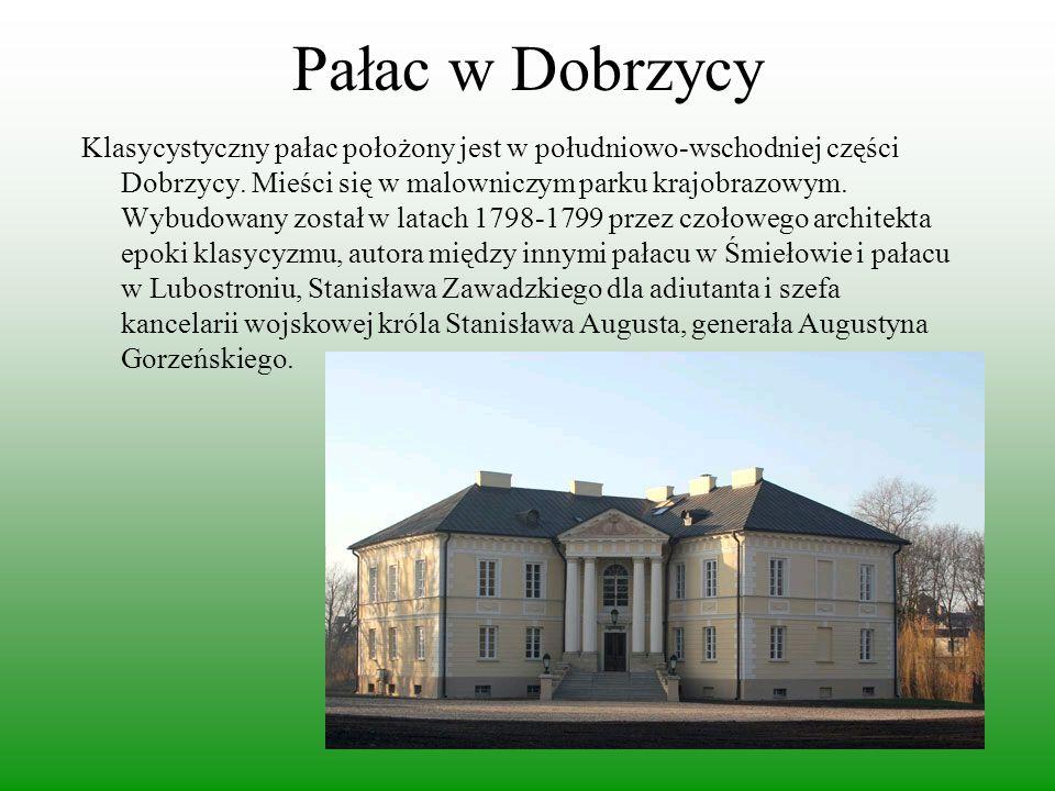 Pałac w Dobrzycy Klasycystyczny pałac położony jest w południowo-wschodniej części Dobrzycy. Mieści się w malowniczym parku krajobrazowym. Wybudowany