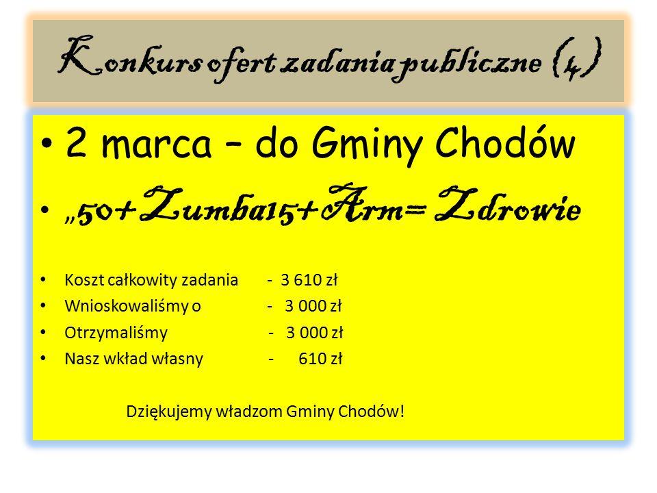 """Konkurs ofert zadania publiczne (4) 2 marca – do Gminy Chodów """" 50+Zumba15+Arm= Zdrowie Koszt całkowity zadania - 3 610 zł Wnioskowaliśmy o - 3 000 zł"""