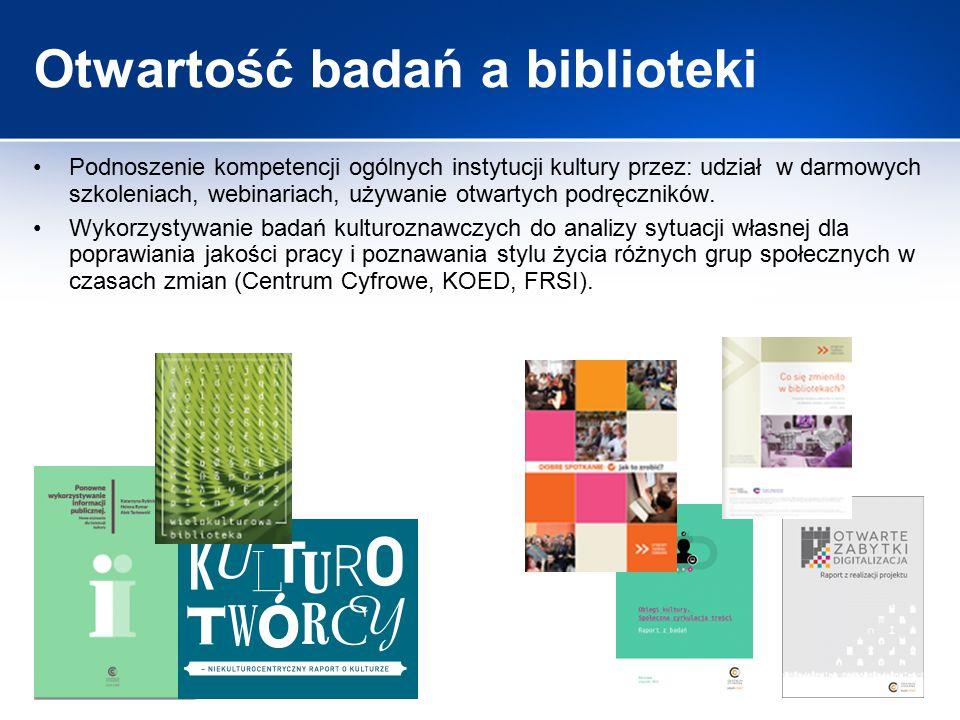 Otwartość badań a biblioteki Podnoszenie kompetencji ogólnych instytucji kultury przez: udział w darmowych szkoleniach, webinariach, używanie otwartyc