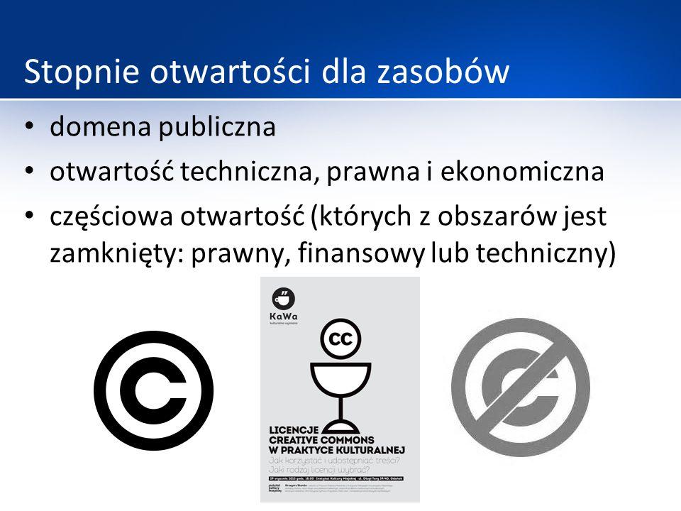 Stopnie otwartości dla zasobów domena publiczna otwartość techniczna, prawna i ekonomiczna częściowa otwartość (których z obszarów jest zamknięty: pra