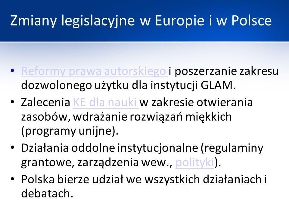 Zmiany legislacyjne w Europie i w Polsce Reformy prawa autorskiego i poszerzanie zakresu dozwolonego użytku dla instytucji GLAM. Reformy prawa autorsk